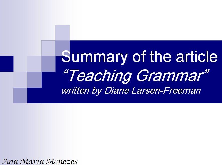دانلود پاورپوئنت تدریس گرامر-Teaching Grammar