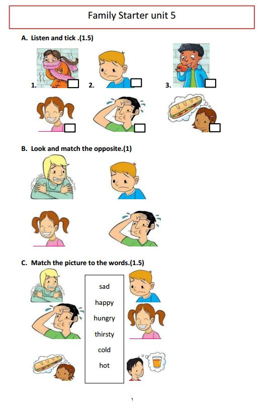 family and friends starter unit test